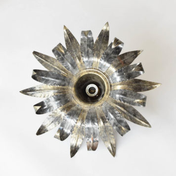 Vintage flush mount light from Barcelona Spain with silver and gold accents on leaves