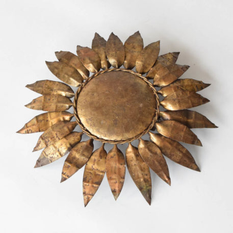 Vintage Spanish gilded sun style light with closed bottom