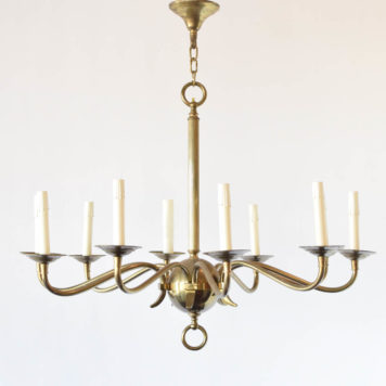 Simple vintage brass chandelier with central brass ball and eight brass arms in four groups
