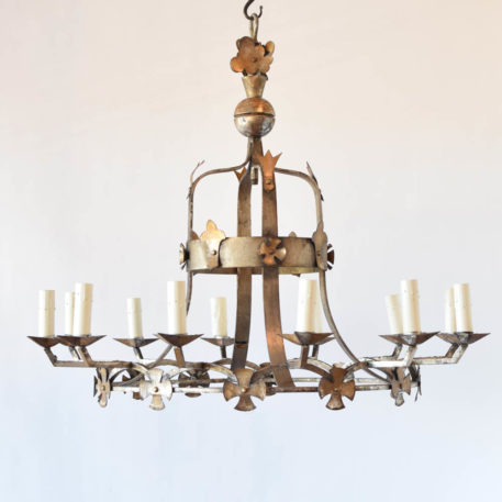 Vintage iron chandelier with cross and fleur de lis in the form of a crown from France
