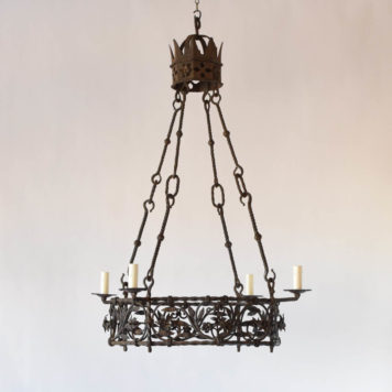 Antique French chandelier with tall rods, nice crown and hand forged leaves throught central band