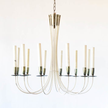 Large mid century chandelier with simple curved metal tube arms