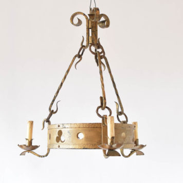 Vintage iron chandelier from France with clover motif