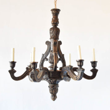 Vintage wood chandelier from Belgium with carved central column and large carved finial
