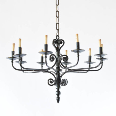 Vintage Iron chandelier with simple arms and turned central column from Spain