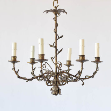 Small iron chandelier from Spain with original gilded finish. Simple iron irons with vines wrapped around the arms and columns