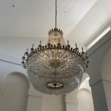 Monumental braonze and crystal sac a pearle chandelier from late 20 century