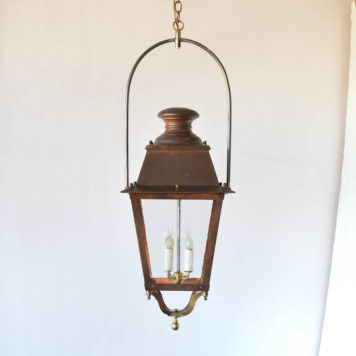 Antique copper gas street lantern from France. Restored with restoration glass and custom iron yoke