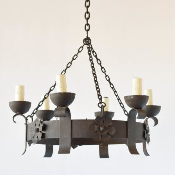 Vintage Belgian iron chandelier with stamped flowers and 6 simple arms