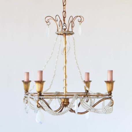 Vintage Italian gilded iron chandelier with swags of Vaseline beads