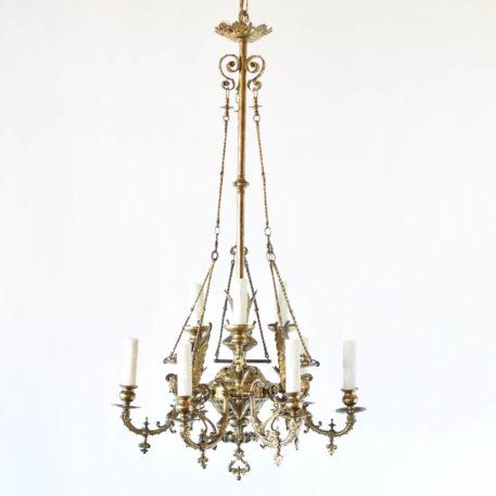 Antique gas chandelier from Belgium