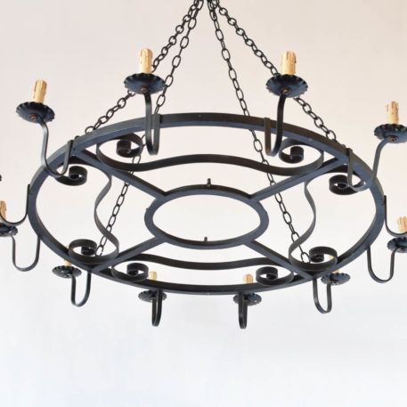 Large rustic iron chandelier from France