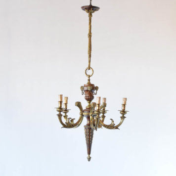 Wood and Bronze Empire chandelier with rams head decorations and tall bronze column