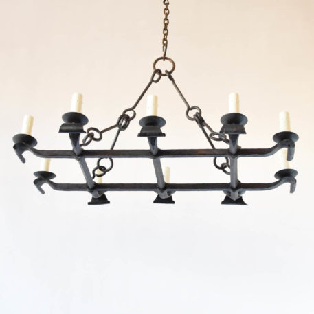 Hand forged iron chandelier from France. Made in the mid 1900s
