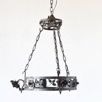 Antique French iron chandelier with hand forged details