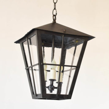 Vintage Iron Lantern with restoration glass from Belgium