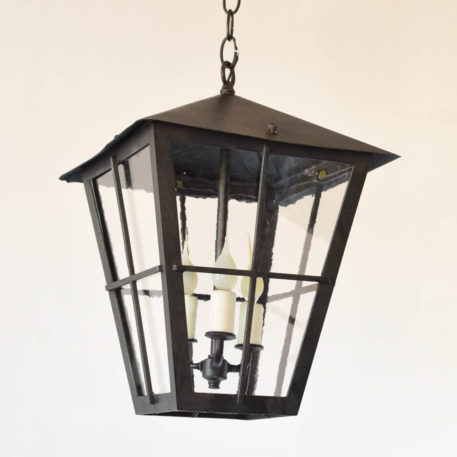 Vintage Iron Lantern with restoration glass from Belgium