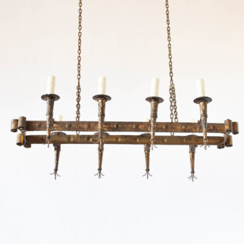 Vintage gilded iron chandelier from Spain with cone shaped candle holders and rope detail