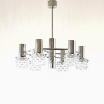 Vintage chrome chandelier in a midcentury design from Belgium