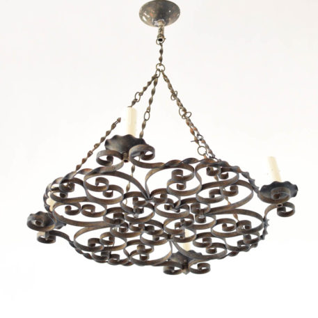 Vintage French chandelier made of iron scrolls with twisted rods used as chains