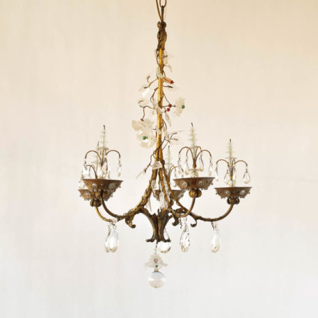 Vintage gilded iron Italian chandelier with 10 hidden lights directed at lucite flowers and leaves