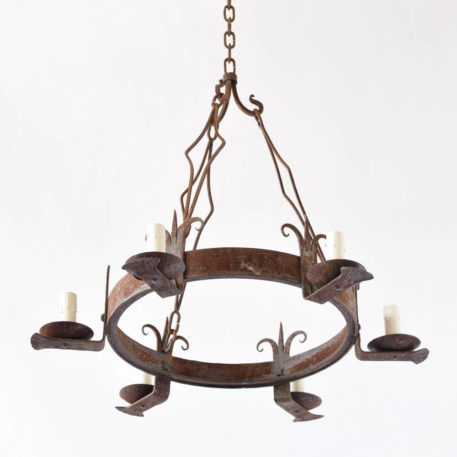 Vintage Rustic French Chandelier with 6 arms made of forged fleur de lis
