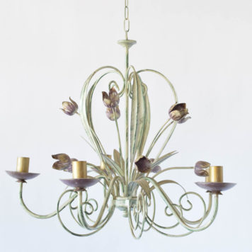 Vintage Italian Toile chandelier with painted flowers