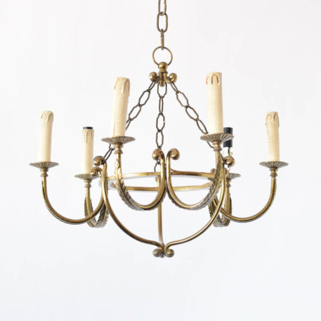 Simple Empire style brass chandelier with central ring and 6 arms with feather details
