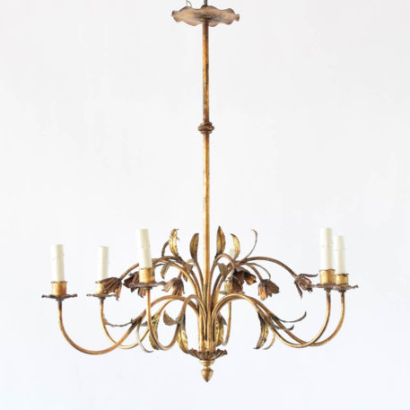 Spanish iron chandelier with original gilded finish decorated with simple flowers and leaves