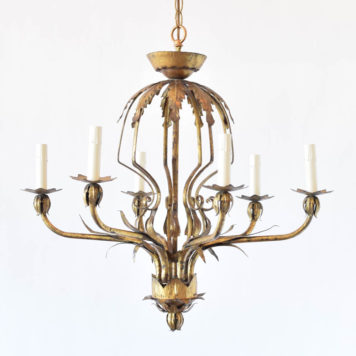 Vintage gilded iron chandelier from Spain with large central urn and 6 arms