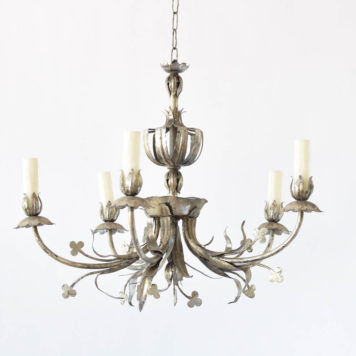 Vintage Chandelier from Spain with stamped leaves and clovers