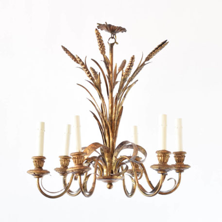 Gilded Italian iron chandelier with a central wheat sheaf that forms the main column