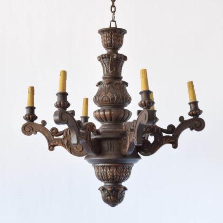 Vintage carved wood chandelier from Belgium