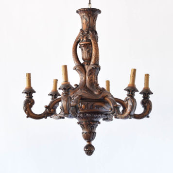 Vintage chandelier from Belgian made of carved wood with Fish motif