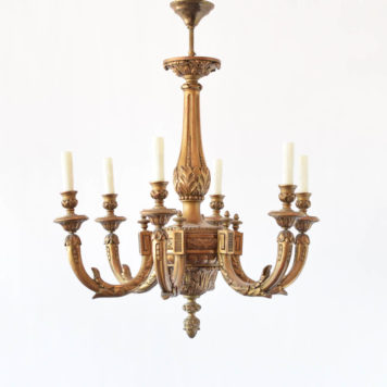 Antique gilded wood chandelier from Italy with carved arms and columns and very nice old patina