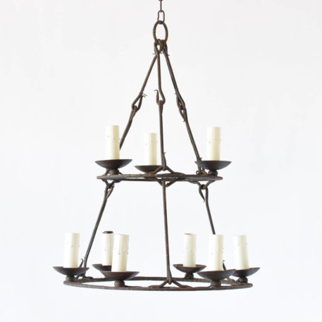 Simple Belgian Iron Chandelier with 2 tiers of iron rings holding 3 and 6 lights suspended by hand forged rods