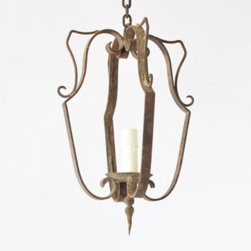 Rustic Iron hall Lantern from France with simple frame and organic iron finial