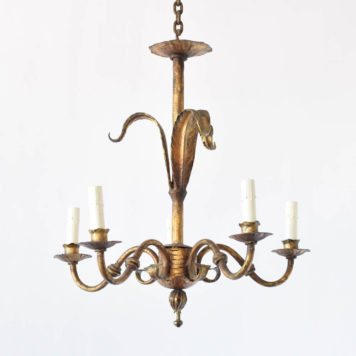 Vintage chandelier from Spain with Lily form on central column in the original Spanish gold finish