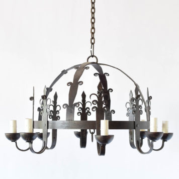 Iron Chandelier from France with Central Dome Form and 8 arms made of stylized iron trees