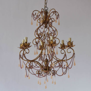 Gilded Italian chandelier with pink bead chains and translucent pink Murano crystals