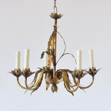 Vintage Iron chandelier from Barcelona Spain with thin leaves on arms and on central column