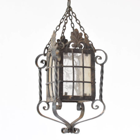 Vintage Iron Lantern from Spain with original glass and grid pattern