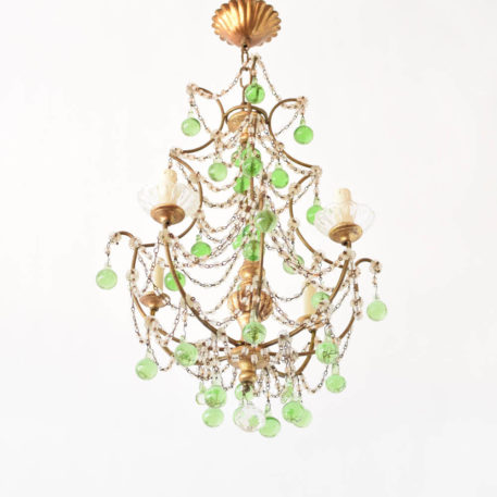 Vintage Iron Italian chandelier with gilded frame decorated with macaroni crystal chains and green Murano prisms