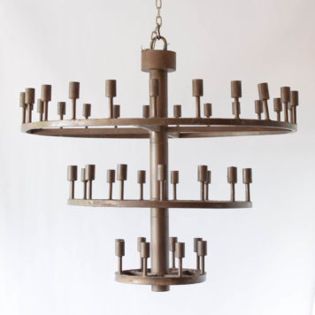 Very large industrial style iron chandelier from Spain with 3 rows of lights