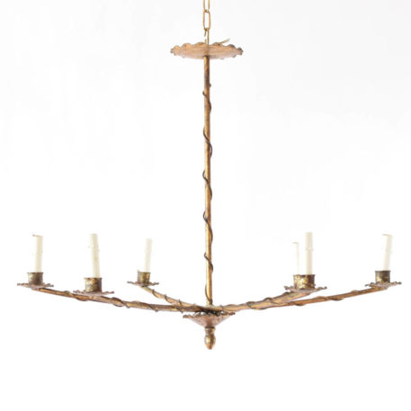 Vintage Iron chandeleir from Spain with simple lines and vines covering the arms