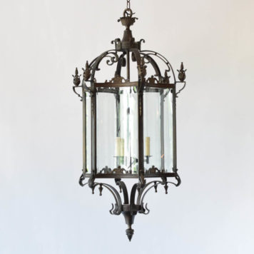 Very large bronze lantern with curved glass on 6 sides