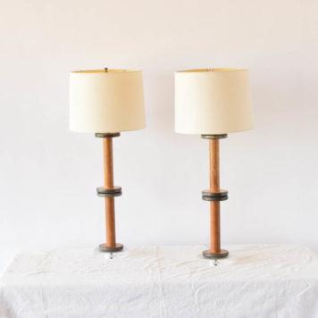 Pair of vintage spool lamps